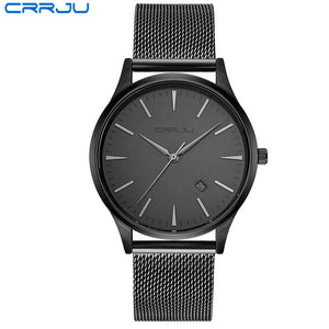 Top Luxury Brand Men Full Stainless Steel Mesh Strap Business Watches Men's Quartz Date Clock Men Wrist Watch relogio masculino