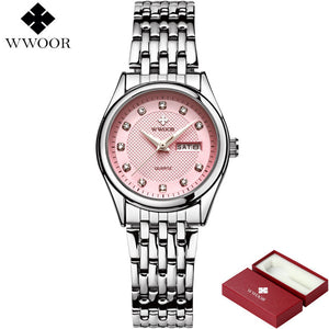Brand Luxury Women Waterproof Watches Women Quartz Analog Date Clock Ladies Silver Stainless Steel Wrist Watch relogio feminino