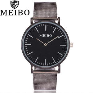 2017 MEIBO Brand Quartz Watch Casual Women Stainless Steel Mesh Strap Ultra Thin Watch Clock Hours Relogio Feminino