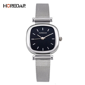 HOREDAR Elegant Steel Mesh Quartz Watches Women Simple Square Bracelet Wrist Watch Female Gift Wristwatch Relojes Feminino
