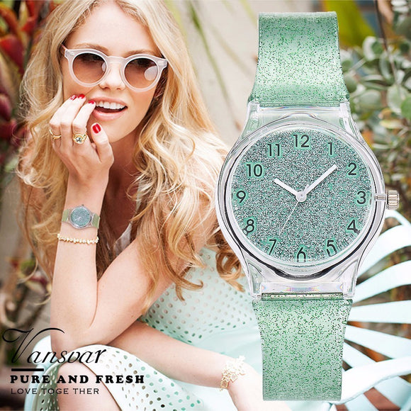 Vansvar Fashion Jelly Silicone Transparent Plastic Women Watches Lovely Cute Unique Ladies Dress Watch Gift Hot Selling