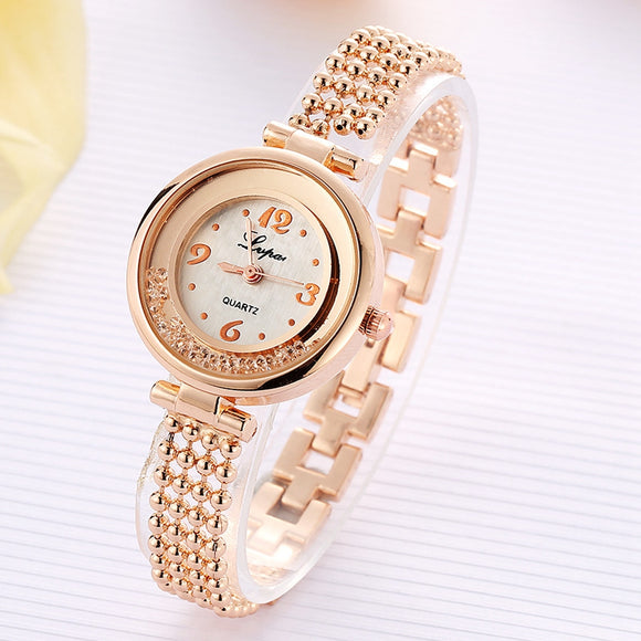 2017 New Lvpai Fashion Brand Round Crystal Women Bracelet Watch Rose Gold Quartz Wristwatches Women Dress Watches Gift Clock