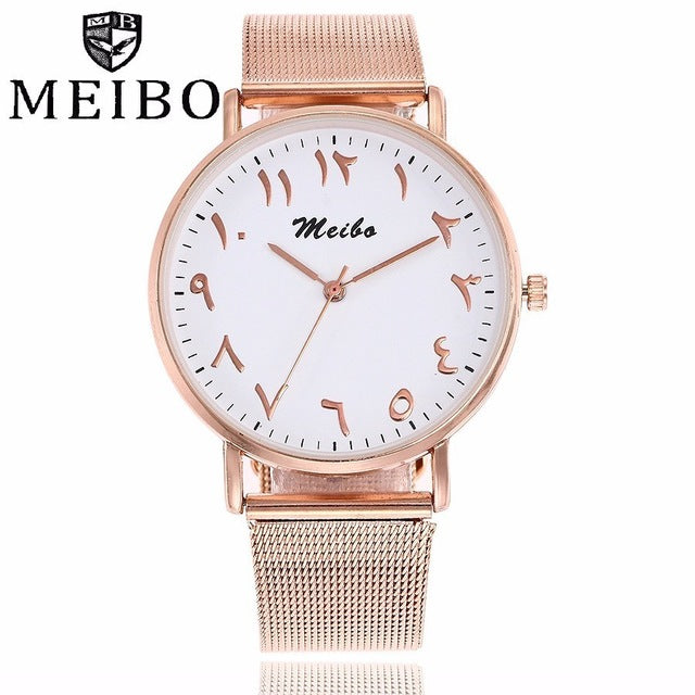Fashion Unique Arabic Numbers Watches Stainless Steel Mesh Watch Casual Women Men Quartz Wristwatches Clock MEIBO Montre Femme
