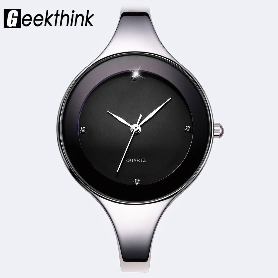 GEEKTHINK Luxury Brand Fashion Quartz Watch Women Ladies Stainless Steel Bracelet Casual Clock Female Dress Gift Box