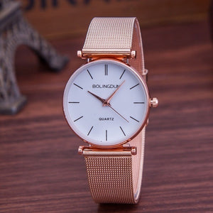 Luxury Brand Watch Women Fashion Rose Gold Quartz Watches Casual Metal Mesh Stainless Steel Dress Wristwatches Hot Sale Reloj