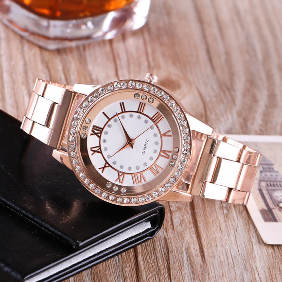 2017 KANIMA Famous Brand Gold Arenaceous Rhinestone Casual Quartz Watch Women Full Steel Watches Luxury Watches Relogio Feminino