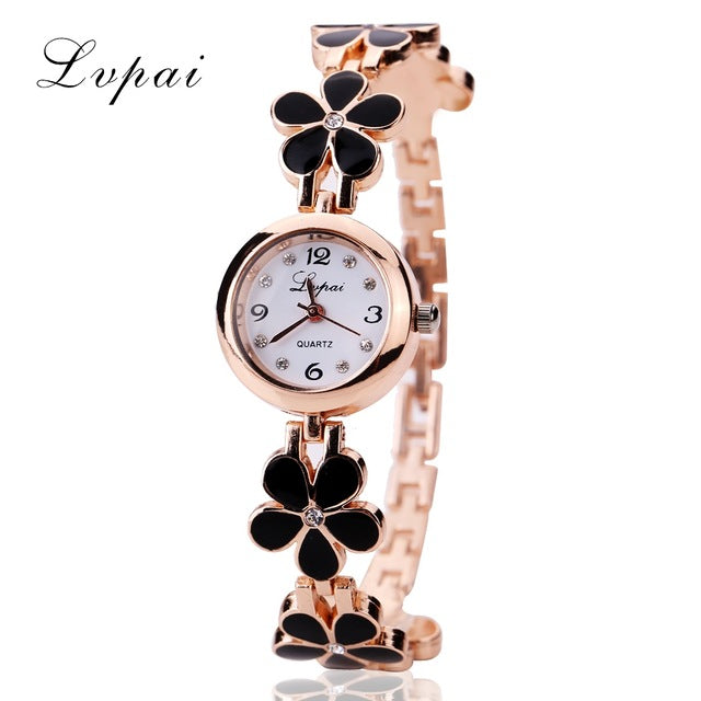 Lvpai Brand Luxury Crystal Gold Watches Women Fashion Bracelet Quartz Wristwatch Rhinestone Ladies Fashion Watch Dropshiping
