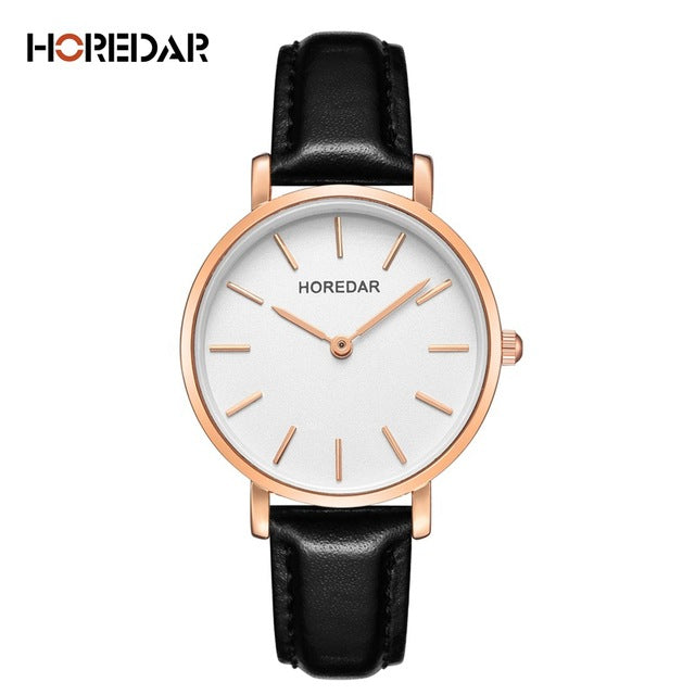 Simple Women Dress Watches HOREDAR Brand New Fashion Leather Watch Women High Quality Quartz Casual Wristwatch gift color