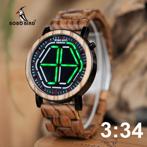 BOBO BIRD WP13 Brand Design Digital Watch Night Vision Wooden Watch Mini Colorful LED Design With Unique Time Display Tokyoflash