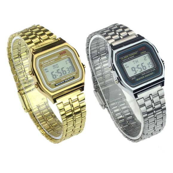 Vintage Womens Men Stainless Steel Digital Alarm Stopwatch Wrist Watch Mens Watches Top Brand Luxury Watch Men Stopwatch