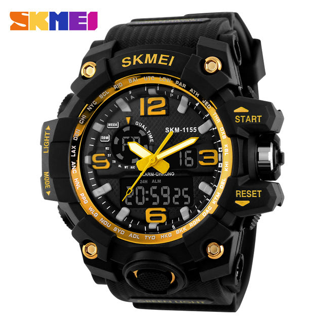 SKMEI Big Dial Dual Sport Digital Watch Men Chronograph Waterproof LED Wristwatch Military Double Time 1155 relogios masculino