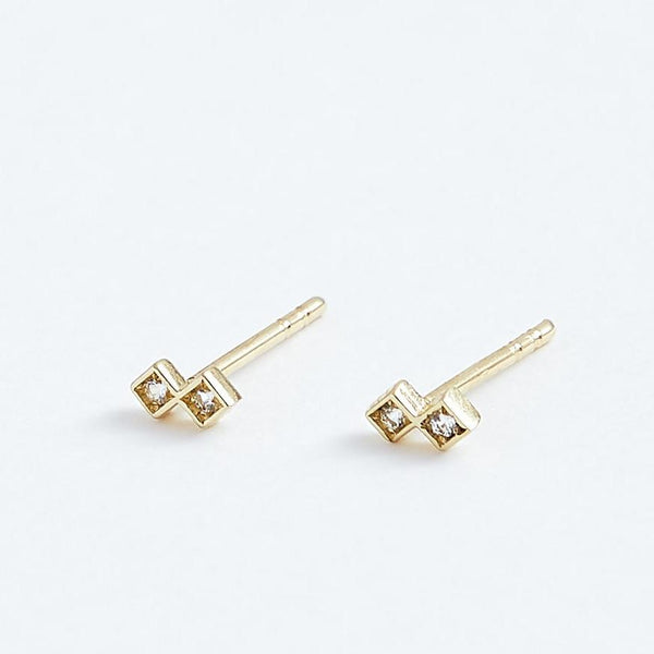 Duo Studs - Solid 14k Gold - Stephanie Grace Jewellery