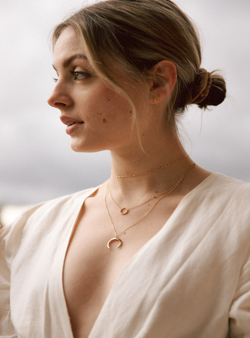 Stephanie Grace Jewellery- moon crescent necklace- solid 14k gold