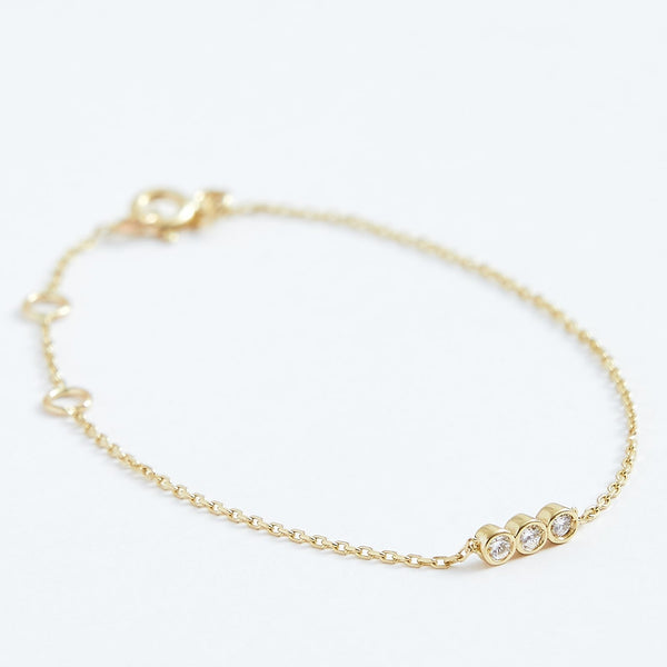 Shalosh Diamond Bracelet - Solid 14k Gold - Stephanie Grace Jewellery