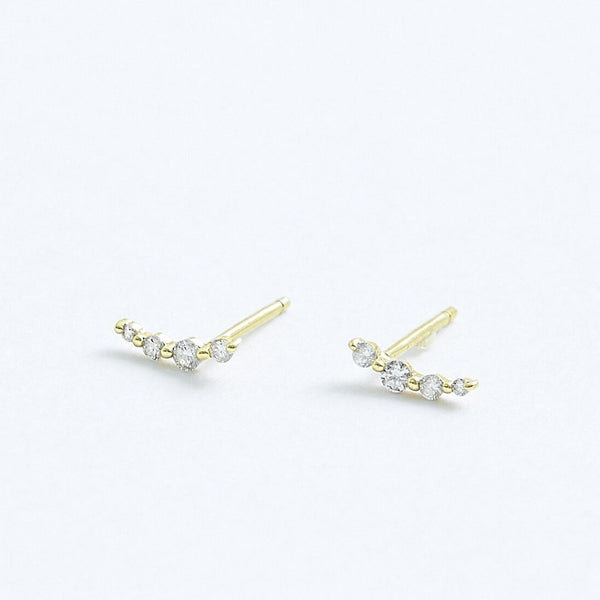 Stephanie Grace Jewellery- rising diamond studs- solid 14k gold