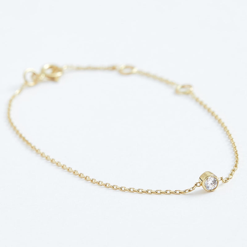 Solitaire Diamond Bracelet - Solid 14k Gold - Stephanie Grace Jewellery