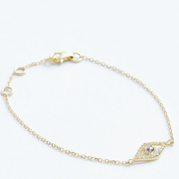 Protecting Eye Bracelet - Solid 14k Gold - Stephanie Grace Jewellery
