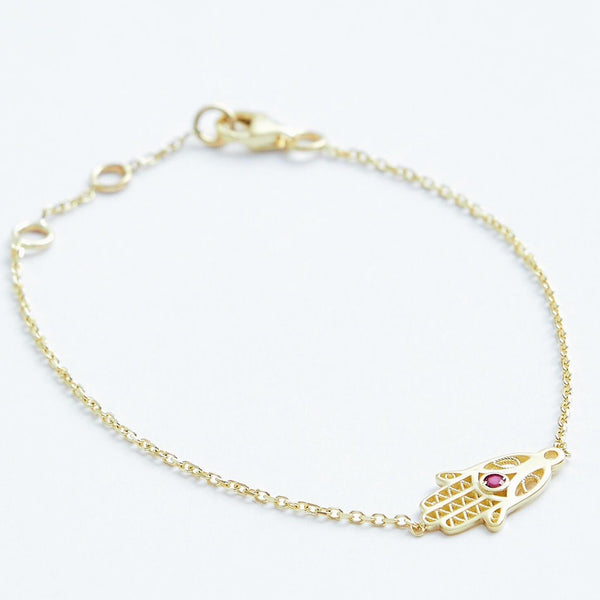 Hamsa Hand Bracelet - Solid 14k Gold - Stephanie Grace Jewellery