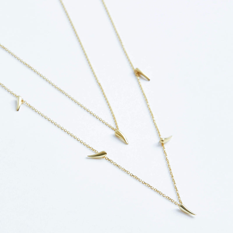 Double Strand Spike Necklace in Solid 14k Gold | Stephanie Grace Jewellery