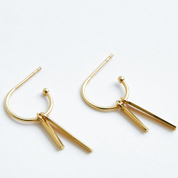 Double Bar Hoops in Solid 14k Gold | Stephanie Grace Jewellery