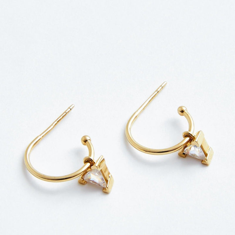 Triangle Hoops in Solid 14k Gold | Stephanie Grace Jewellery