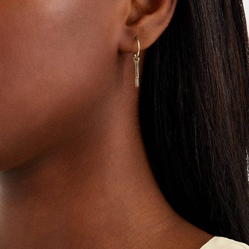 Double Bar Hoops - Solid 14k Gold - Stephanie Grace Jewellery