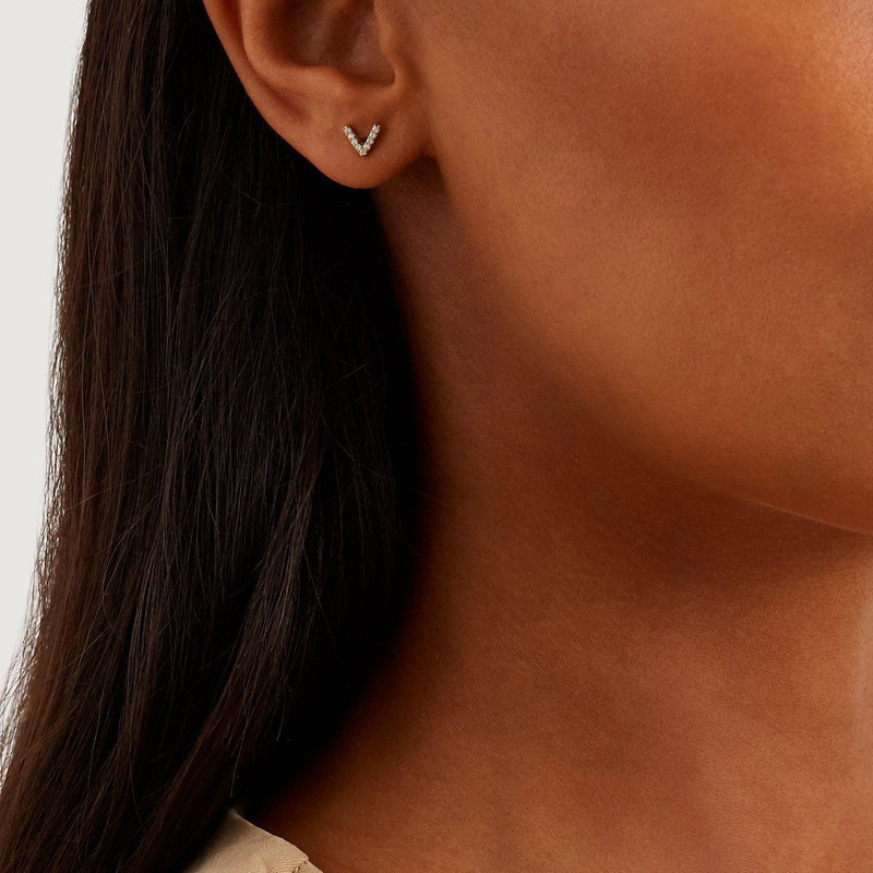 V Studs - Solid 14k Gold - Stephanie Grace Jewellery