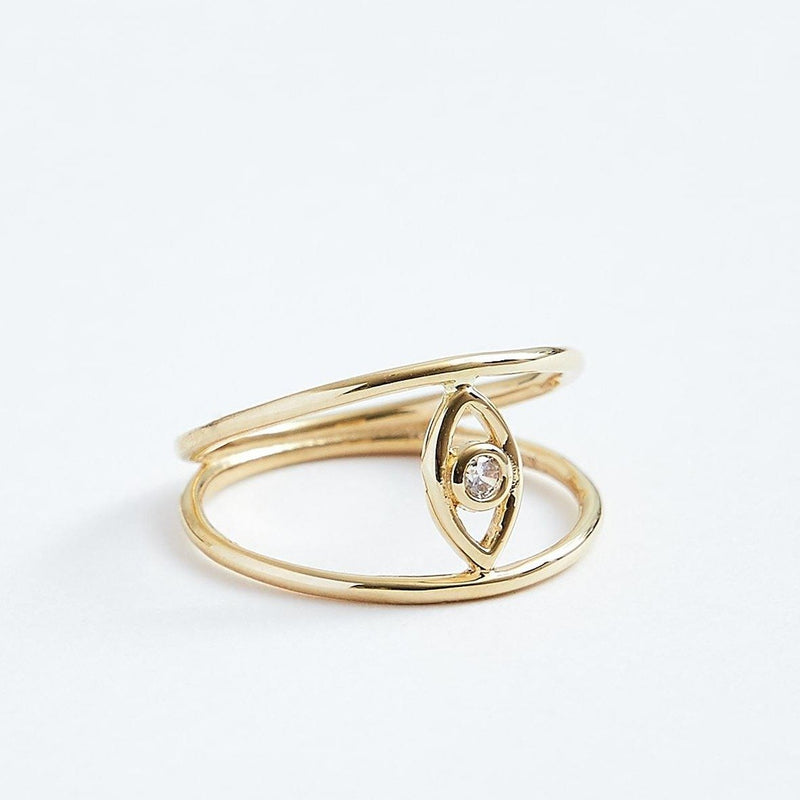Evil Eye Ring - Solid 14k Gold - Stephanie Grace Jewellery