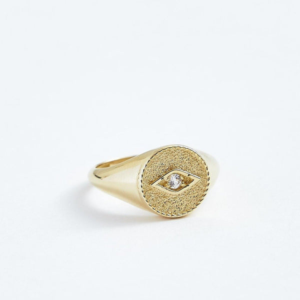 Protecting Eye Pinkie Ring - Solid 14k Gold - Stephanie Grace Jewellery