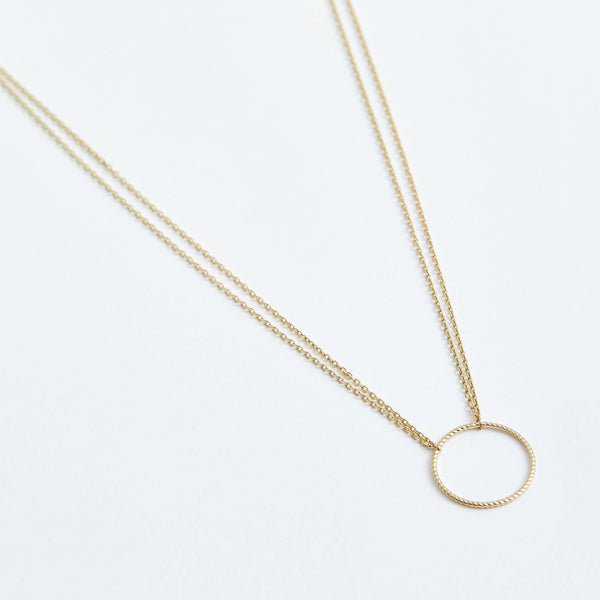 Double Chain Rope Circle - Solid 14k Gold - Stephanie Grace Jewellery