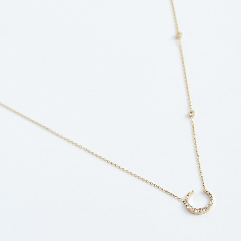 Rising Moon Necklace - Solid 14k Gold - Stephanie Grace Jewellery