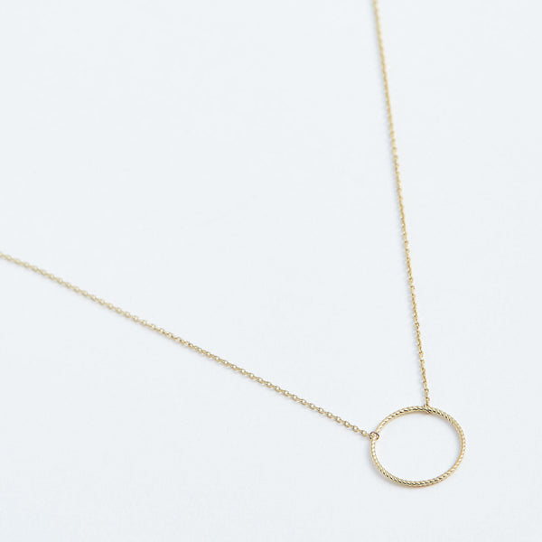 Rope Circle Necklace - Solid 14k Gold - Stephanie Grace Jewellery