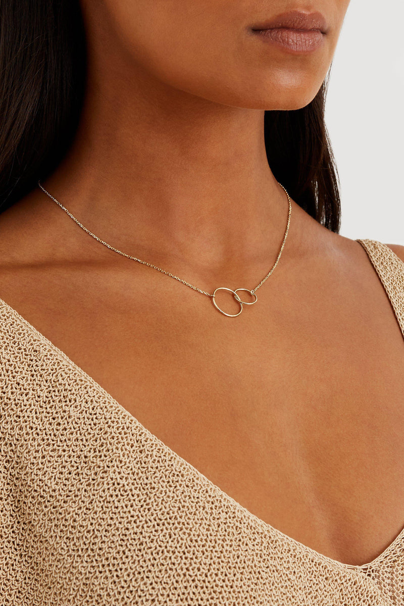 Double Circle Necklace - Solid 14k Gold - Stephanie Grace Jewellery