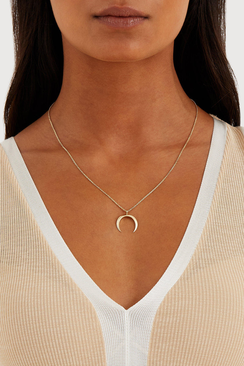 Crescent Moon Necklace - Solid 14k Gold - Stephanie Grace Jewellery