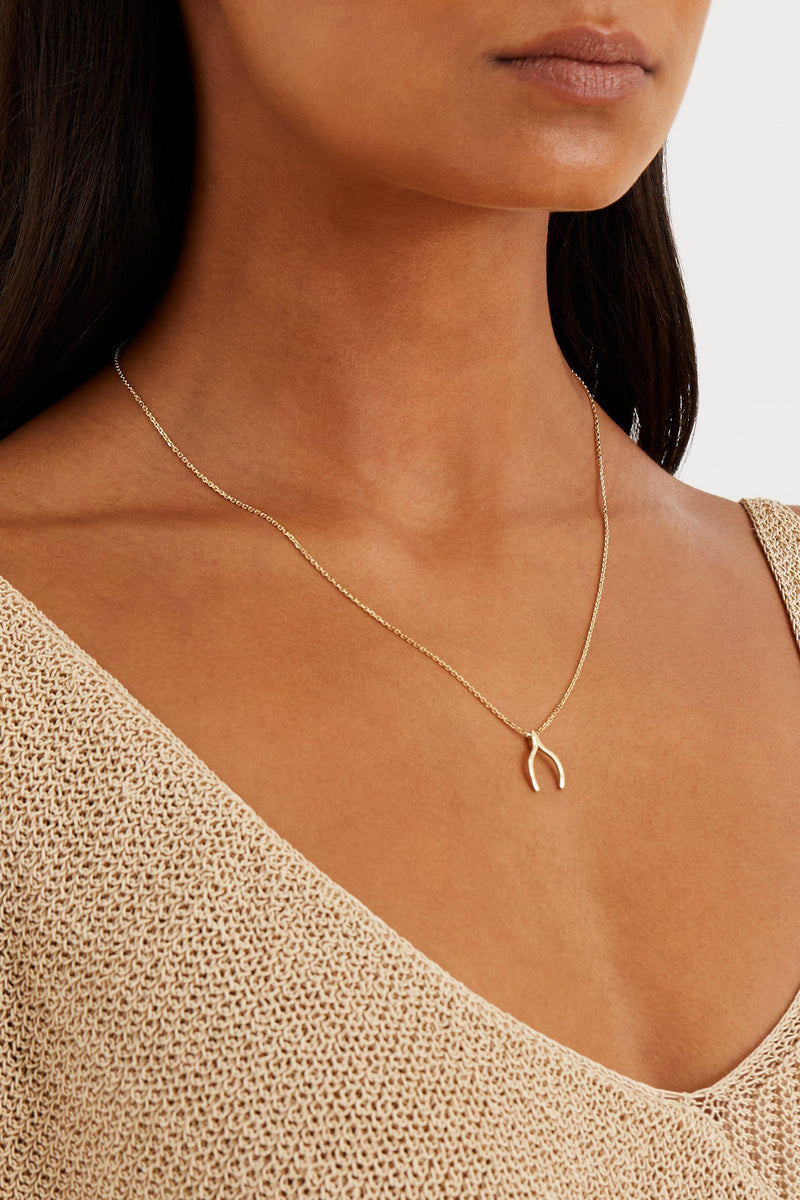 Wishbone Necklace - Solid 14k Gold - Stephanie Grace Jewellery