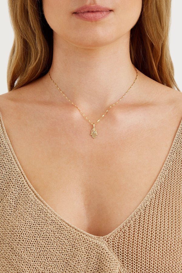 Hamsa Hand Necklace - Solid 14k Gold - Stephanie Grace Jewellery