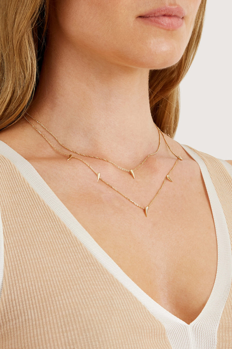 Double Strand Spike Necklace - Solid 14k Gold - Stephanie Grace Jewellery