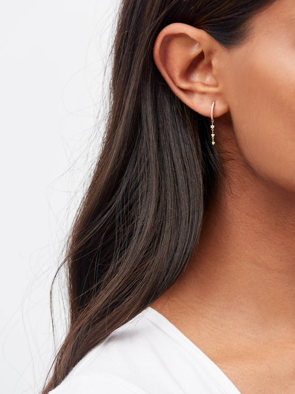 Stephanie Grace Jewellery- diamond drop hoops- solid 14k gold