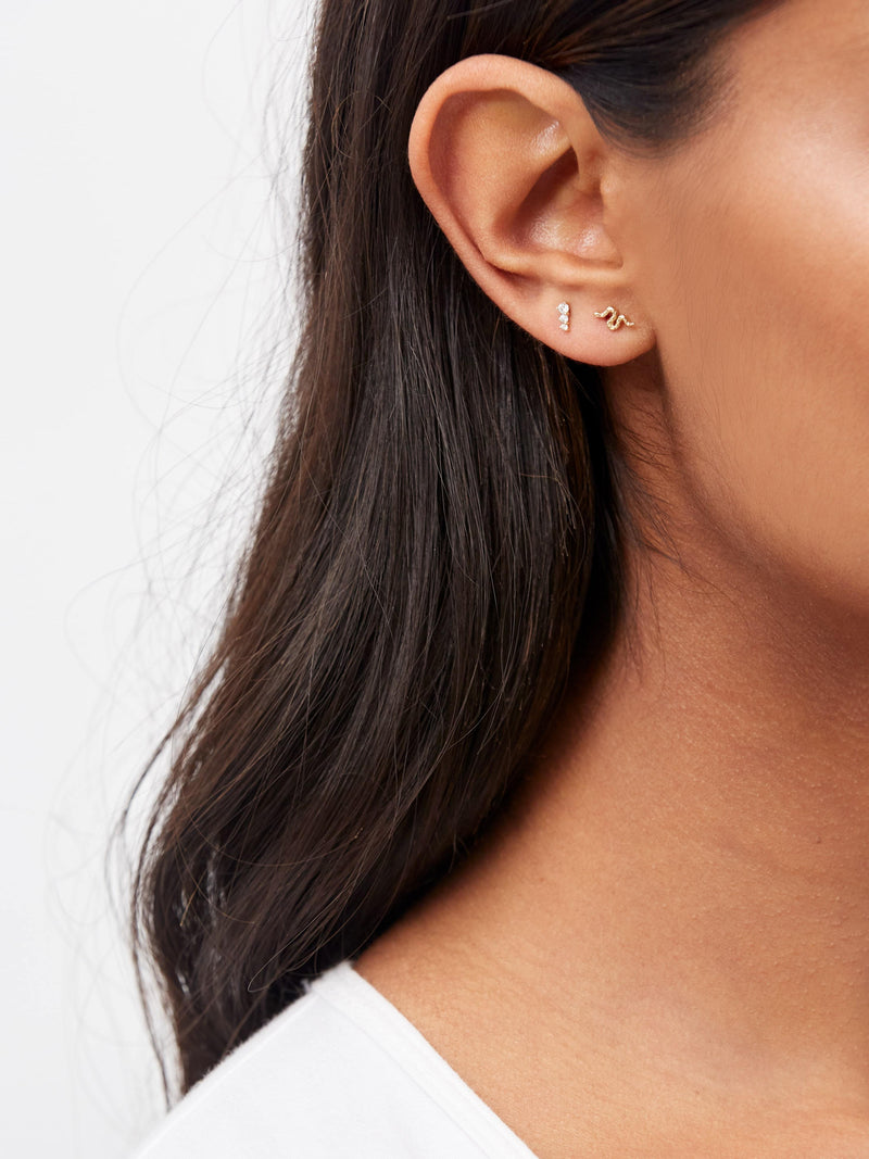 Stephanie Grace Jewellery- triplet diamond studs- solid 14k gold