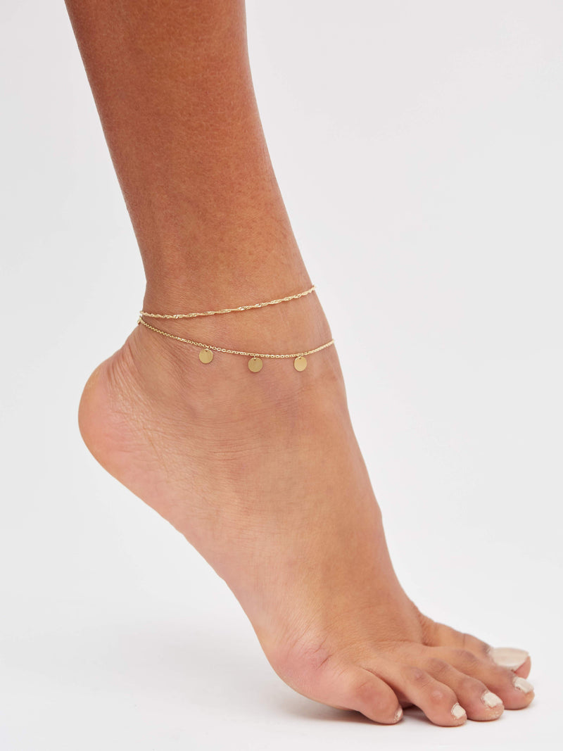 Disc Chain Anklet in Solid 14k Gold | Stephanie Grace Jewellery