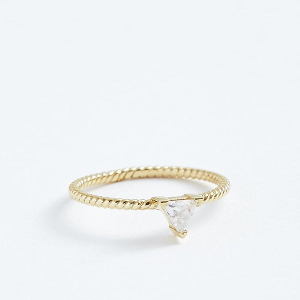 Triangle Twist Ring - Solid 14k Gold - Stephanie Grace Jewellery