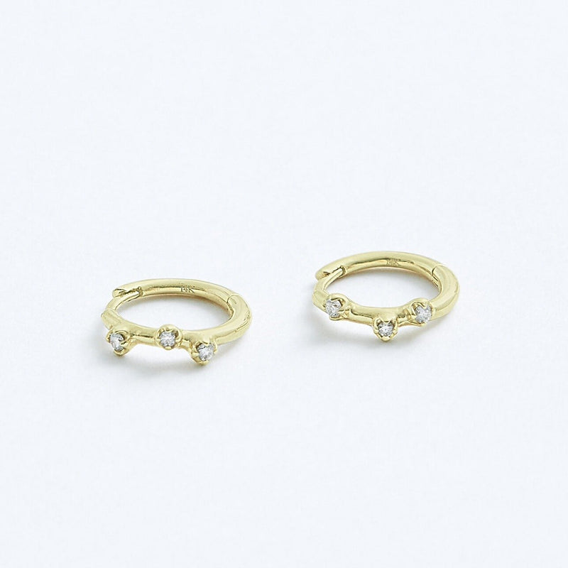 Stephanie Grace Jewellery- diamonds hoops- solid 14k gold