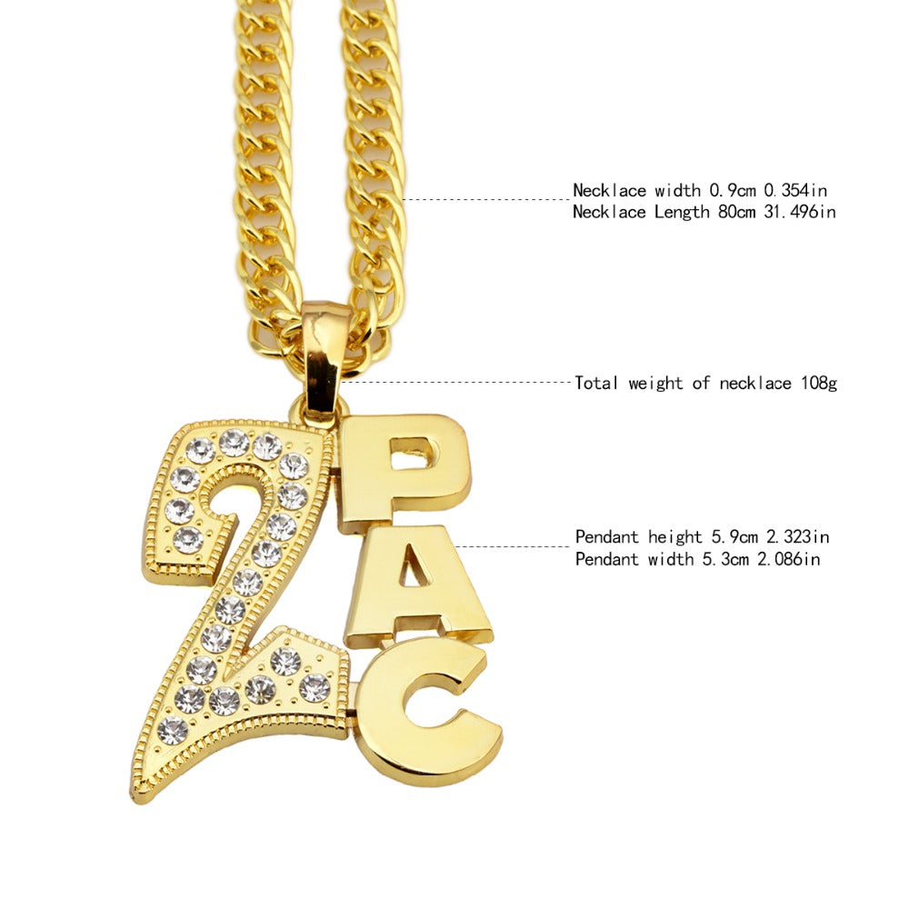 Christmas Jewelry.Men Women Golden 2pac Pendants Bling Christmas Jewelry Gifts Crystal Necklaces Hip Hop Charm Franco 31 5 Inch Chains