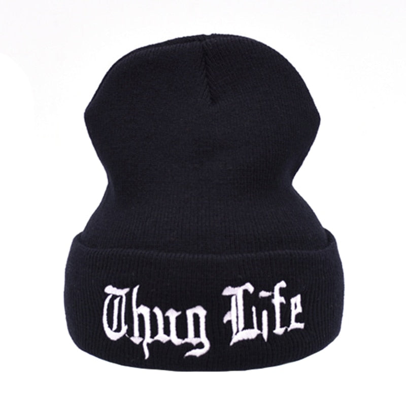 728868a5d7dc9 THUG LIFE Black Letter Beanie Unisex Fashion Hip Hop Mens Beanies Knitted  Caps for Women Skullies
