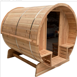 Outdoor Rustic Cedar Barrel Steam Sauna - Front Porch Canopy - ETL Certified - 6 Person