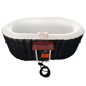 Inflatable Hot Tub Spa With Drink Tray and Cover - 2 Person - 145 Gallon - Black and White