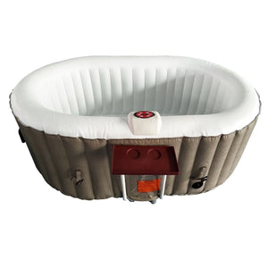 Inflatable Hot Tub Spa With Drink Tray and Cover - 2 Person - 145 Gallon - Brown and White