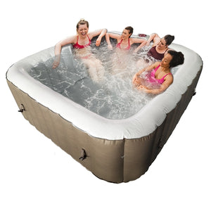 Inflatable Hot Tub Spa With Cover - 6 Person - 250 Gallon - Brown/White