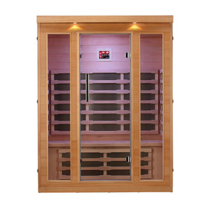 Aleko Infrared Sauna: Indoor Canadian Hemlock Wood - Multi-Colored Light Spectrum - 3 Person