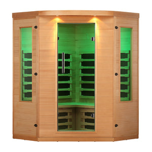 Aleko Infrared Sauna: Indoor Canadian Hemlock Wood - Multi-Colored Light Spectrum - 4 Person